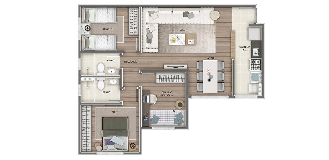 Apartamento tipo - 3 quartos 67m² (final 01)