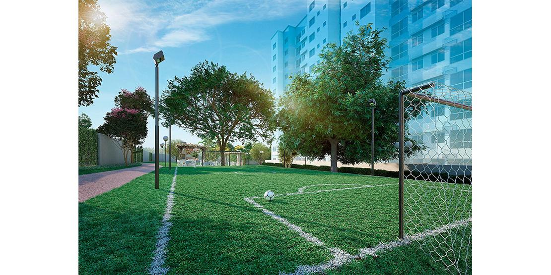 Quadra de futebol gramada