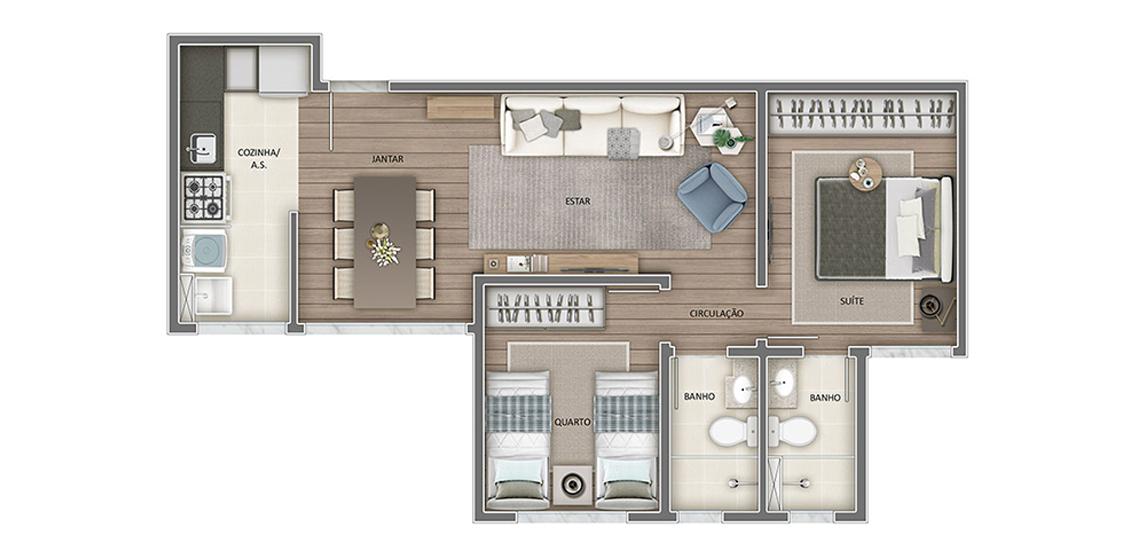 Apartamento tipo - 2 quartos  54m² (final 03)