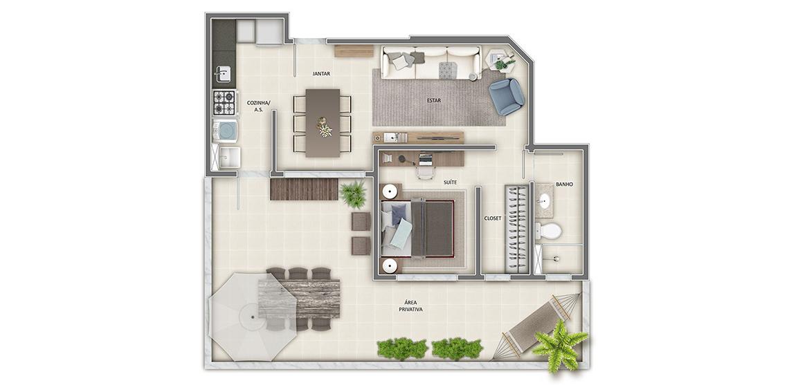 Apartamento com área privativa - 1 quarto 76m²