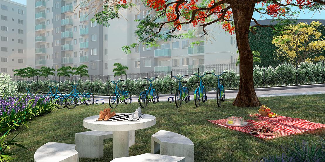 Bicicletário e praça de convivência