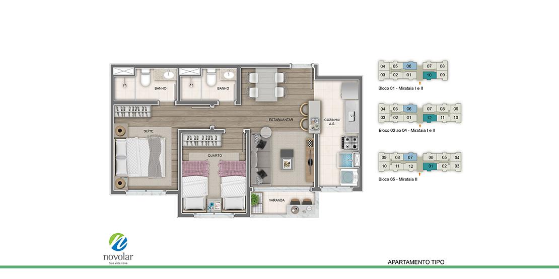 Apartamento tipo meio