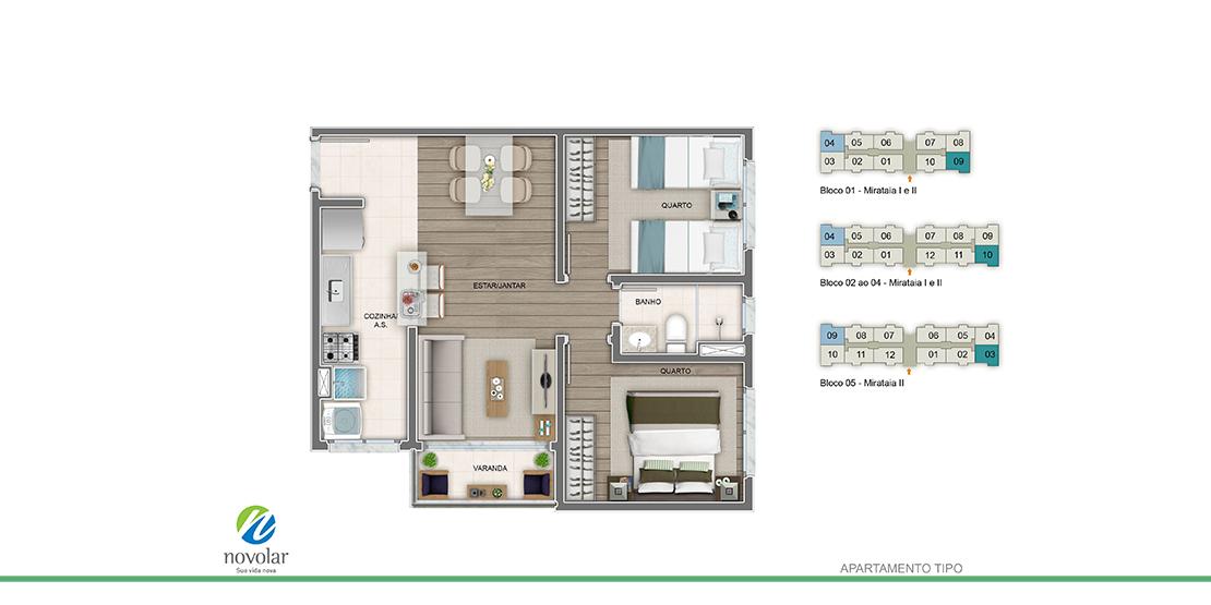 Apartamento tipo ponta
