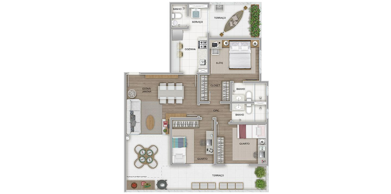 3 quartos com área privativa
