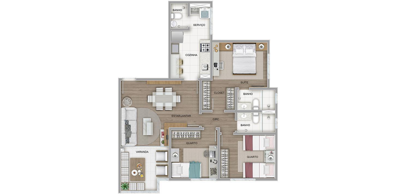 3 quartos tipo