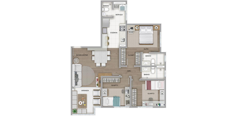 3 quartos com variação de cozinha aberta