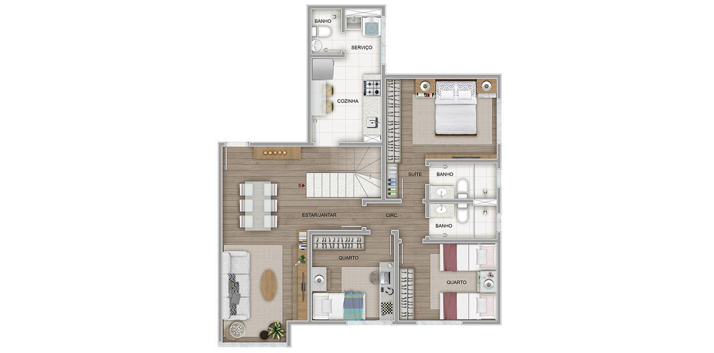 3 quartos cobertura - 1º pavimento