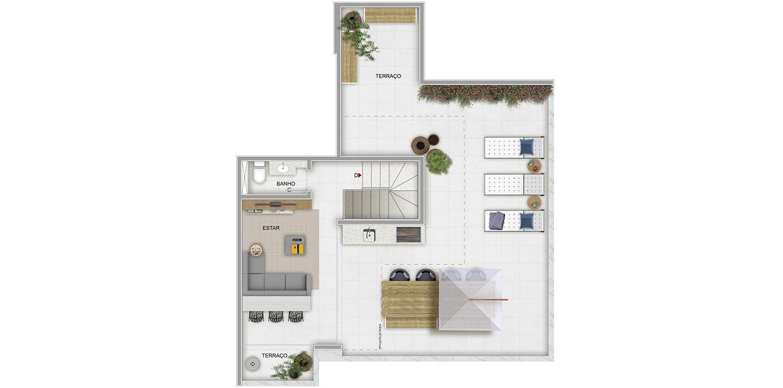 3 quartos cobertura - 2º pavimento