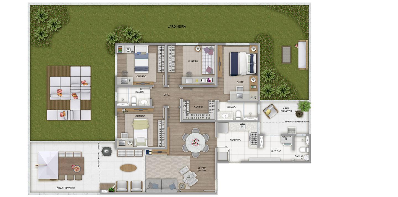 4 quartos com área privativa