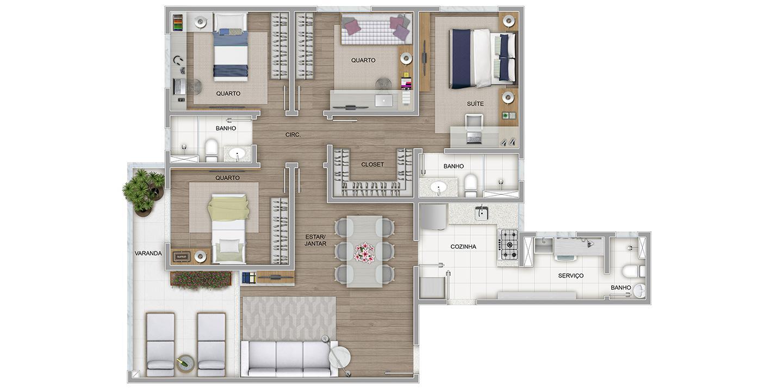 4 quartos tipo