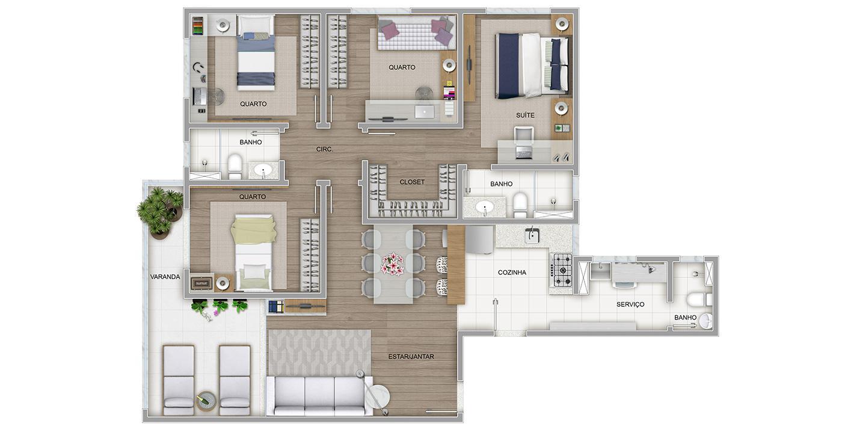 4 quartos com variação de cozinha aberta