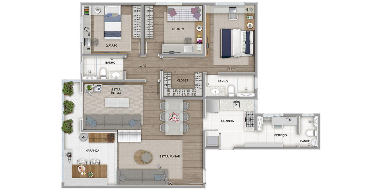 3 quartos com variação de sala ampliada
