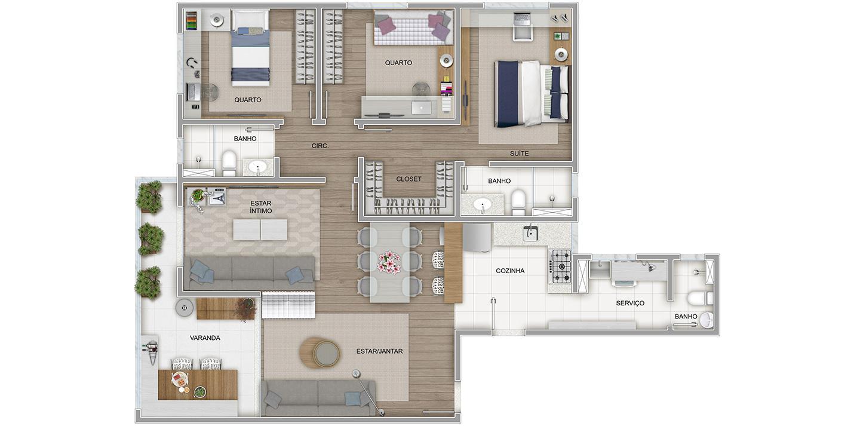 3 quartos com variação de sala ampliada e cozinha aberta