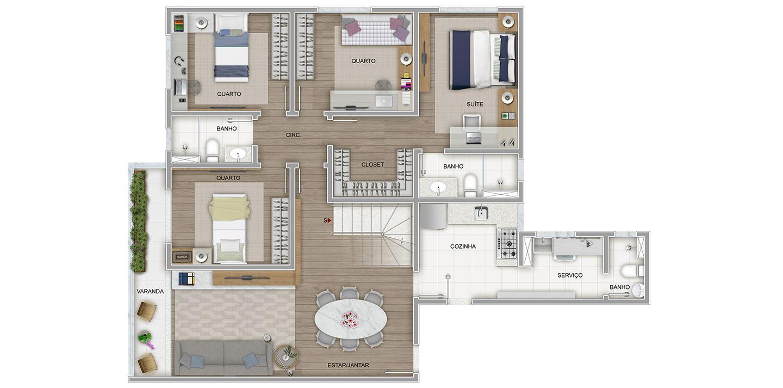 4 quartos cobertura – 1º pavimento