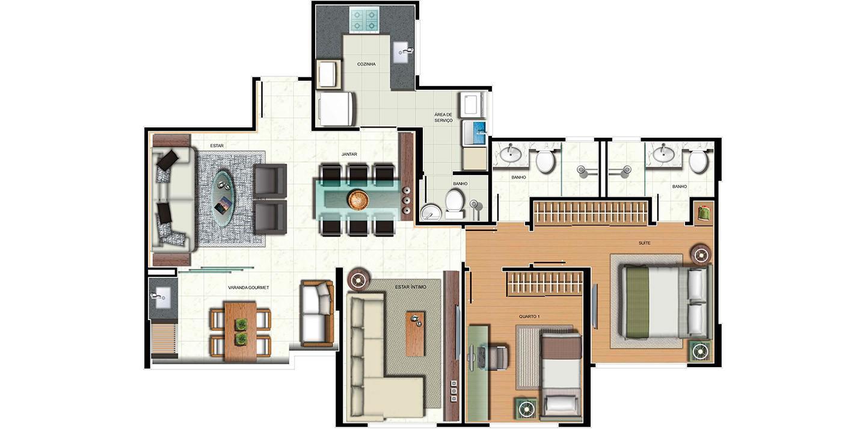 Apartamento 2 quartos - variação sala ampliada