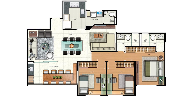 Apartamento 3 quartos - variação sala ampliada