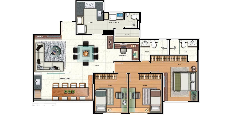 Apartamento 3 quartos - variação home office e despensa
