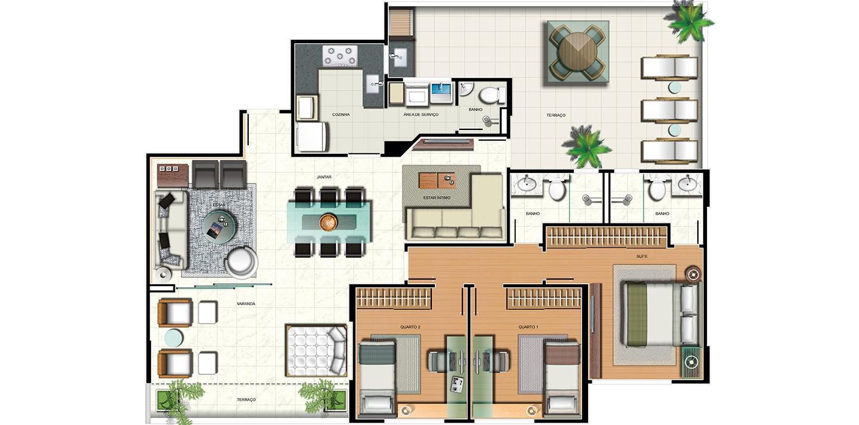 Apartamento 3 quartos - área privativa e sala ampliada