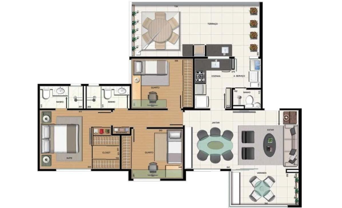 3 quartos - suíte e área privativa