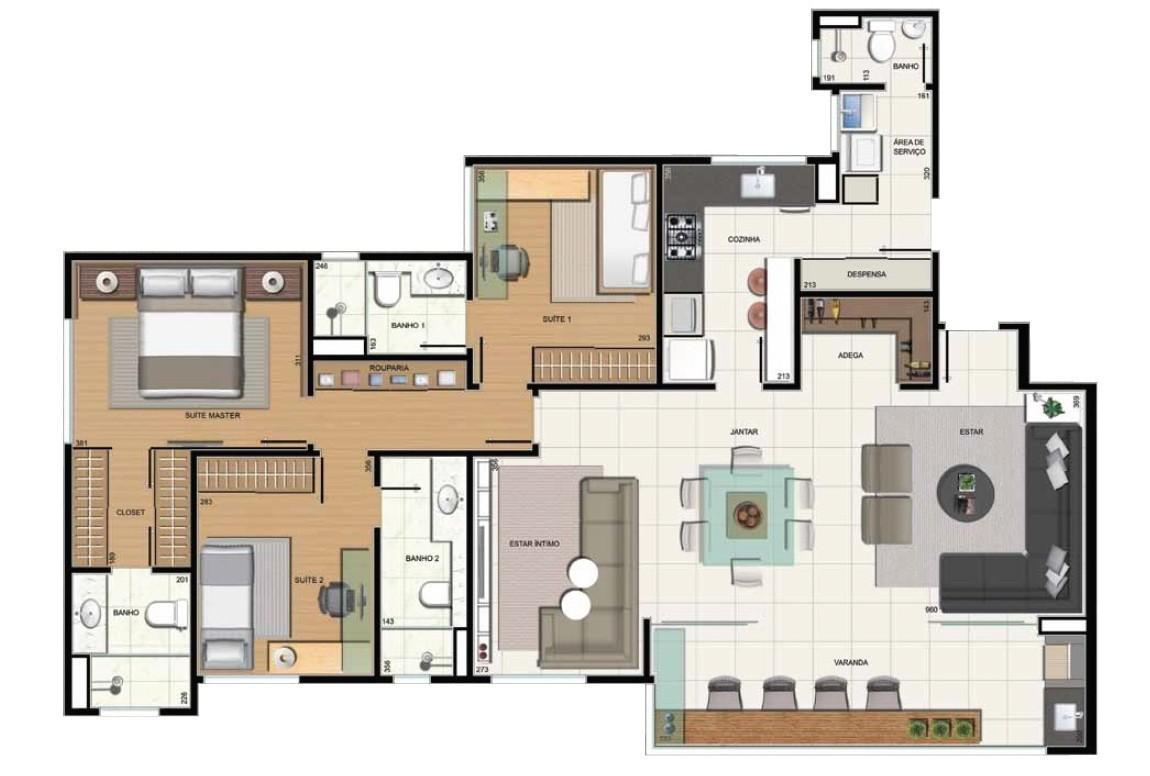 3 suítes com sala ampliada, adega e despensa