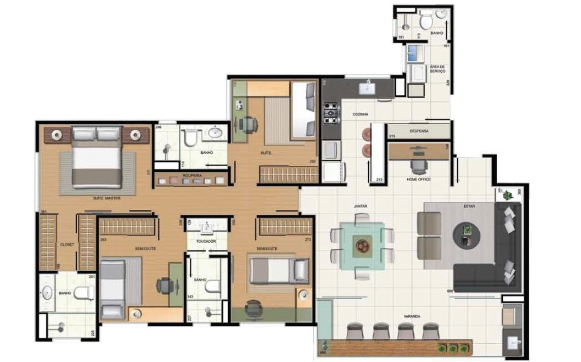 4 quartos - 2 suítes e 2 semissuítes com home office e despensa