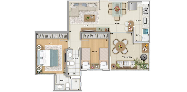 Apartamento 2 quartos - Área privativa