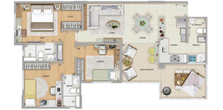 Apartamento 3 quartos - Área privativa