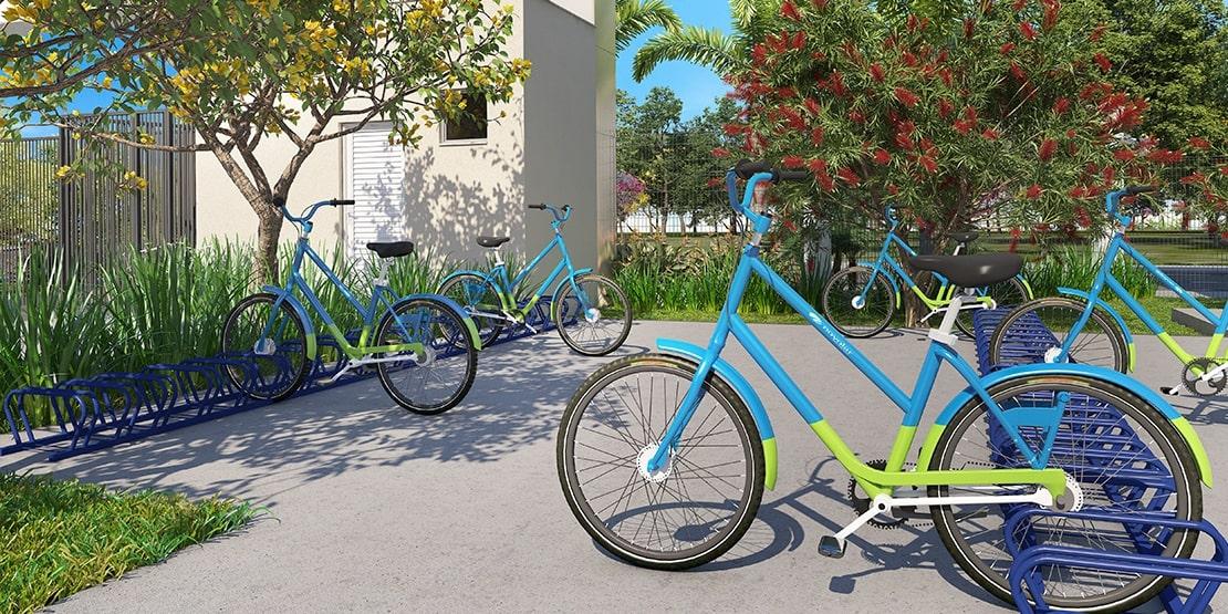 Bicicletário com Bicicletas Compartilhadas