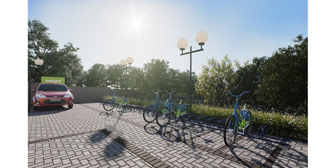 Bicicletário e bicicletas compartilhadas