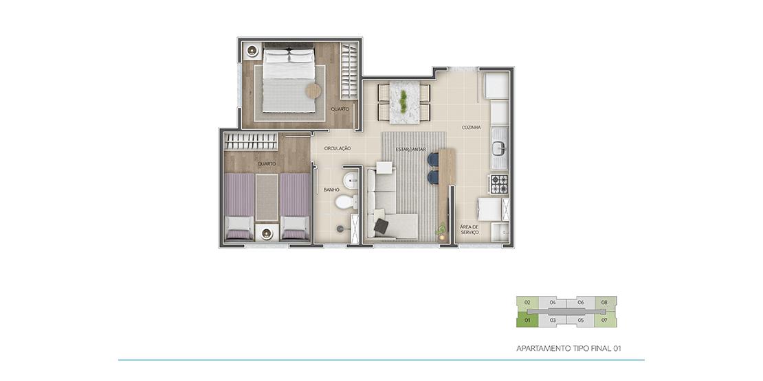 Apartamento Tipo Final 01 - 2 Quartos | 42m²