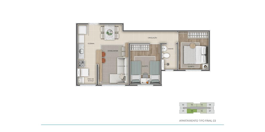 Apartamento Tipo Final 03* - 2 Quartos | 45m²