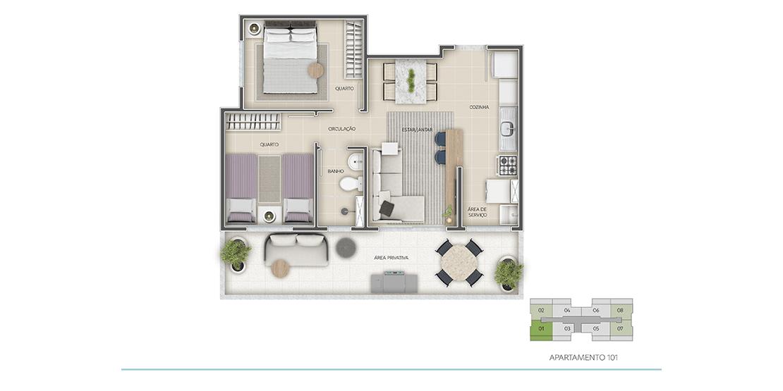 Apartamento 2 Quartos - Térreo - Final 04 com área privativa | 57m²