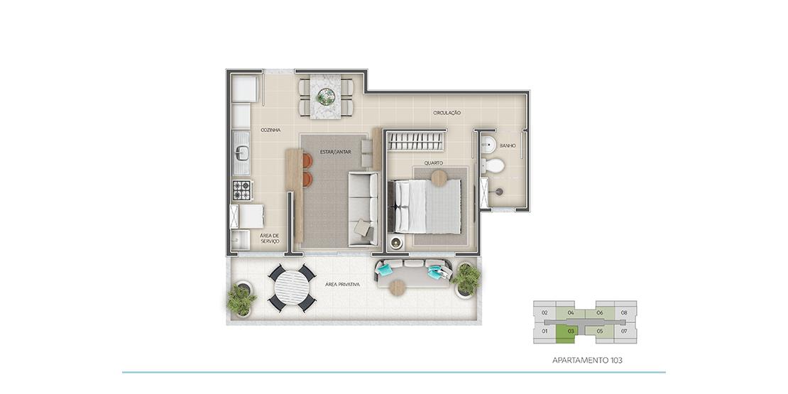 Apartamento 1 Quarto - Térreo - Final 03 com área privativa | 48m²