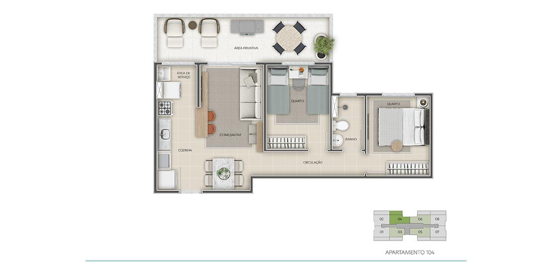 Apartamento 2 Quartos - Térreo - Final 01 com área privativa | 57m²