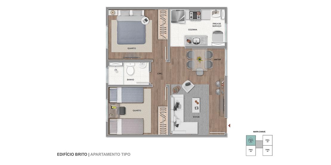 Apartamento TIPO Final 03 | 43,94m²