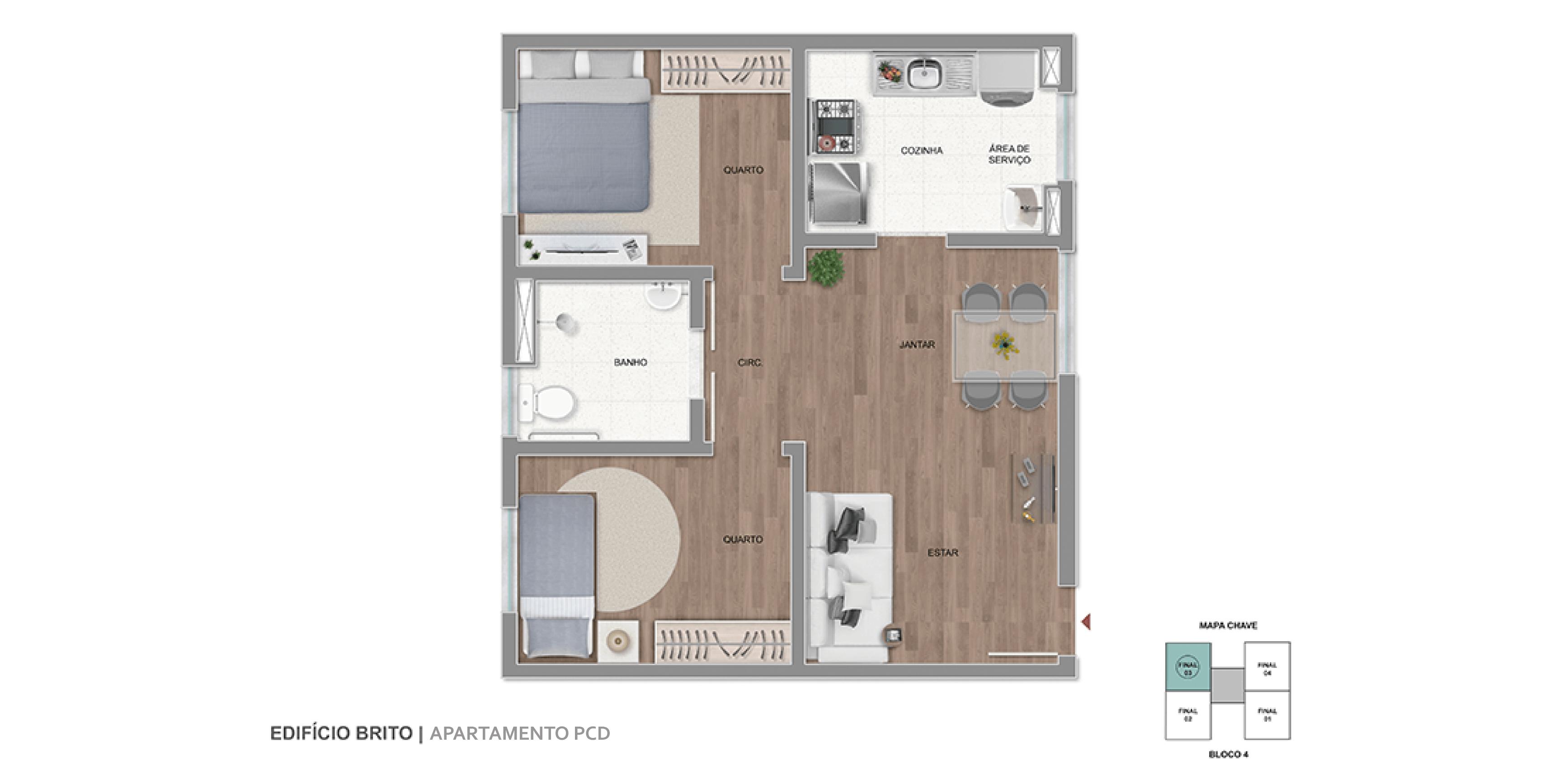 Apartamento PCD Final 03 | 48,40m²